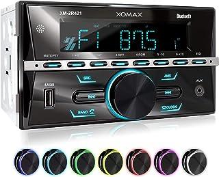 XOMAX XM-2R421 Autoradio avec Bluetooth I RDS I AM, FM I USB, AUX I 7 Couleurs..