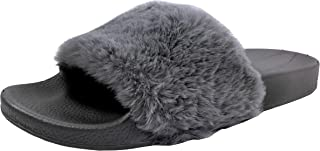 Wells Collection Women's Willow Faux Fur Soft Slides Flat Slippers Furry, Grey, 6
