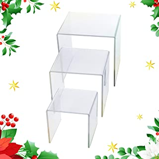 Adorox Top Quality (1 Set of 3pcs) Clear Acrylic Display Riser (3
