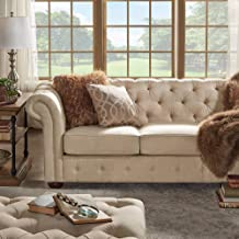 Inspire Q Knightsbridge Beige Fabric Button Tufted Csterfield Sofa and Seating by Artisan Sofa Only