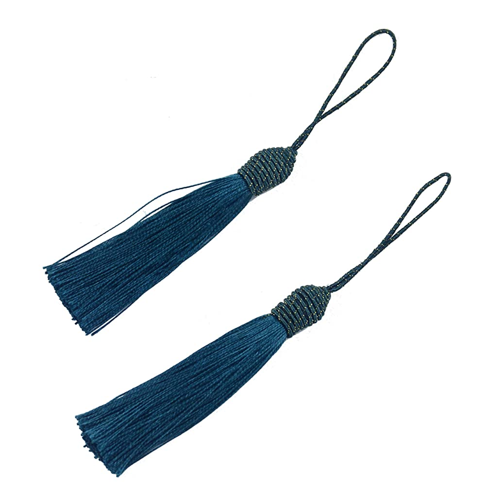 20pcs 15.5cm/6 Inch Silky Floss Bookmark Tassels with 2-Inch Cord Loop and Small Chinese Knot for Jewelry Making, Souvenir, Bookmarks, DIY Craft Accessory (Dark Teal)
