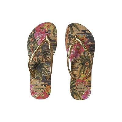 Havaianas Slim Tropical Flip Flops (Ivory) Women