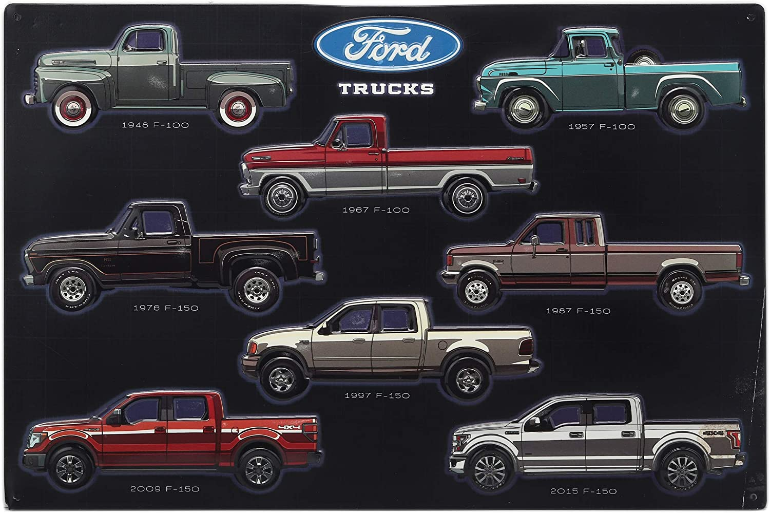 Open Road Brands Ford Trucks Collage Metal Sign