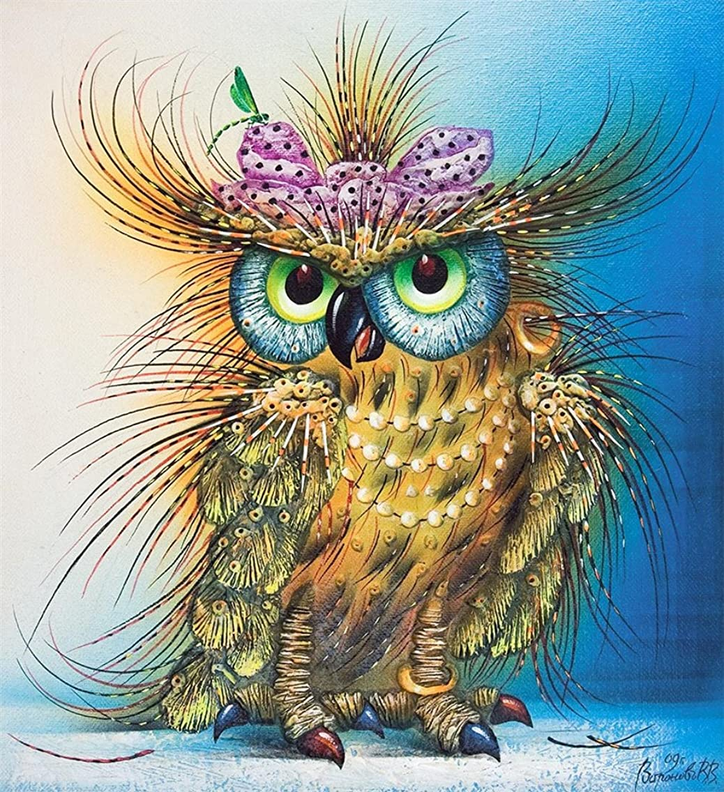 DIY Oil Painting Paint by Number Kit for Kids Adults Beginner 16x20 inch -Shiny Owl,Drawing with Brushes Christmas Decor Decorations Gifts (Frame)