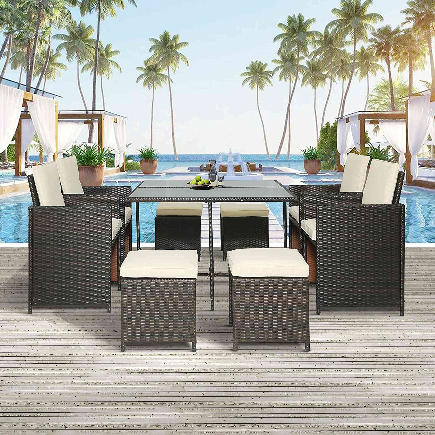 Tulib 9 Pieces Patio Dining, Outdoor Space Saving Rattan Chairs with Glass Table, PE Wicker Furniture Cushioned Seating and Back Sectional Conversation Set (Brown)