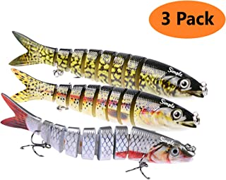 Bass Fishing Lures Hard Swimbaits Pro Fish Baits Tackle 3 Pcs Set 8 Segments Multi Jointed Slow Sink #6 Treble Hook Life-Like 3D Eyes - Jerkbait, Crankbait, Spinbait, Bass Swim Bait