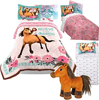 Spirit Riding Free DreamWorks Twin Size Comforter and Sheet Set + Bonus Plush Spirit Pony Horse Toy!
