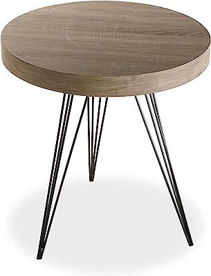 Versa Fontana Table d'appoint pour Le Salon, la Chambre ou la Cuisine. Table Basse auxiliaire Moderne, Dimensions (H x l x L) 55 x 50 x 50 cm, Bois et métal, Couleur Marron et Noir