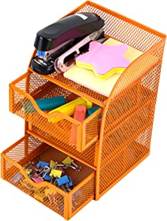HGmart Mesh Desk Organizer 3 Drawers Metal Desktop Organization Supplies Storage with 1 Top Shelf for Office or Home Orange