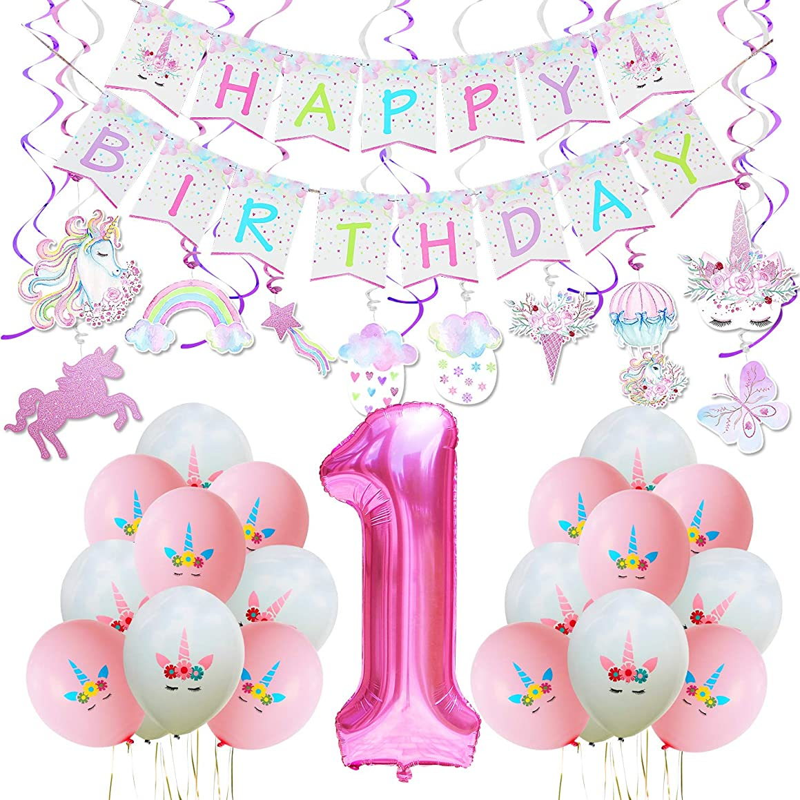"""WERNNSAI Unicorn Party Decoration Kit - Magical Unicorn Themed Party Supplies for 1st Birthday Baby Girl Including Pastel Banner, Hanging Swirl, Latex Balloon, Giant Number """"1"""" Foil Balloon"""