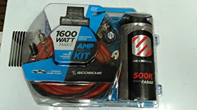SCOSCHE KPCA4C 1600W 4-Gauge Car Amplifier Install Kit with 0.05F Stiffening Cap