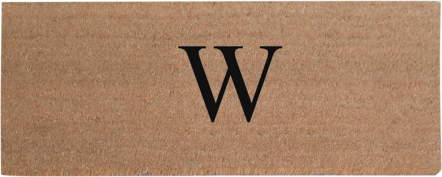 A1 HOME COLLECTIONS First Impression A1HC Plain Coir Doormat, Monogrammed-W, 20 x48 (A1HOME200021-2-W)