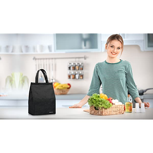 Lunch Bag, VAGREEZ Insulated Lunch Bag Large Waterproof Adult Lunch Tote Bag For Men or Women (String-Black White)