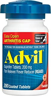 Advil Coated Tablets Pain Reliever and Fever Reducer, Ibuprofen 200mg, 200 Count, Easy Open Arthritis Cap, Fast-Acting Formula for Headache Relief, Toothache Pain Relief and Arthritis Pain Relief