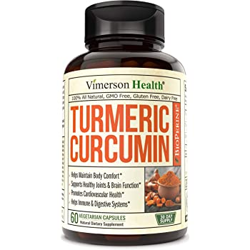Turmeric Curcumin with BioPerine Black Pepper, 95% Curcuminoids. Supports Healthy Inflammatory Response, Occasional Joint Pain Relief, Natural Immune Support. Vimerson Health 60 Capsules