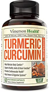 Turmeric Curcumin with BioPerine Black Pepper, 95% Curcuminoids. Inflammation Balancing Properties, Occasional Joint Disco...