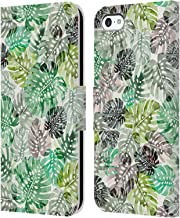 Official Ninola Green Monstera Tropical Leather Book Wallet Case Cover Compatible for iPhone 5c