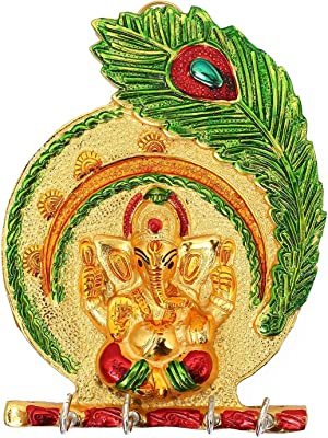 Webelkart Lord Ganesha Meenakari Mor Pankh Key Stand Key Holder for Home & Office (Genuine) (18.00 X 14.00 cm, Aluminium)