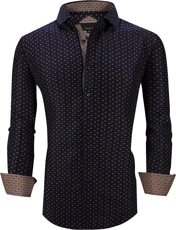 Esabel.C Men's Dress Shirts Long Sleeve Regular Fit Print Casual Button Down Shirts