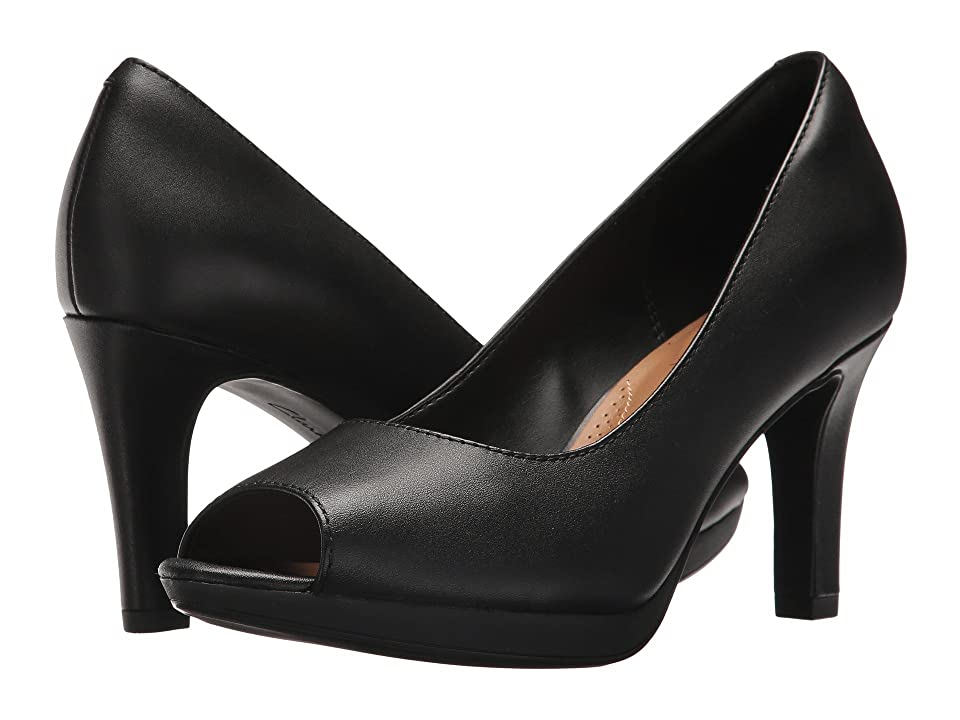 Pin Up Shoes- Heels, Pumps & Flats Clarks Adriel Phyliss Black Leather Womens Toe Open Shoes $90.00 AT vintagedancer.com