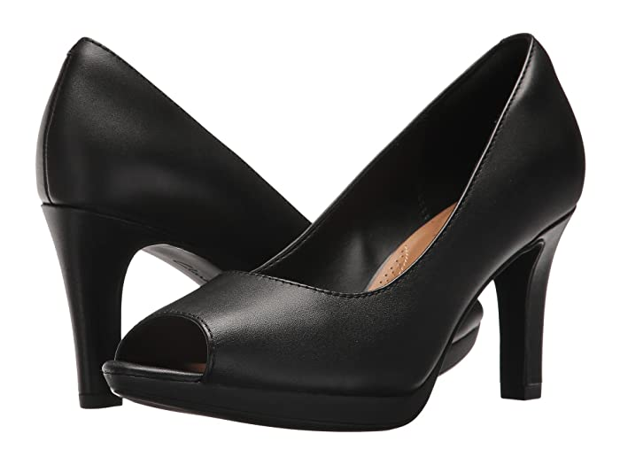 1940s Style Shoes, 40s Shoes Clarks Adriel Phyliss Black Leather Womens Toe Open Shoes $54.00 AT vintagedancer.com