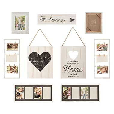 Gallery Perfect Rustic Collage Gallery Wall Kit Picture Frame Set, Multi Size - 4  x 6 , 5  x 7 , White, 9 Piece
