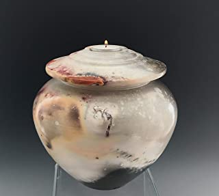 Large Ceramic Candle Urn, Pit Fire Pottery, SacredUrnsEtc by Susan Fontaine Pottery