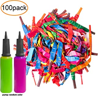 100pcs Rocket Balloons in A Variety of Bright Colours with Two Free Air Pumps. Giant Rocket Balloons to Whistle.