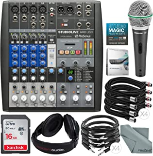 PreSonus StudioLive AR8 USB 8-Channel hybrid Performance and Recording Mixer and Deluxe Bundle w/Samson Q6 Mic + Stereo Headphones + 16GB + More
