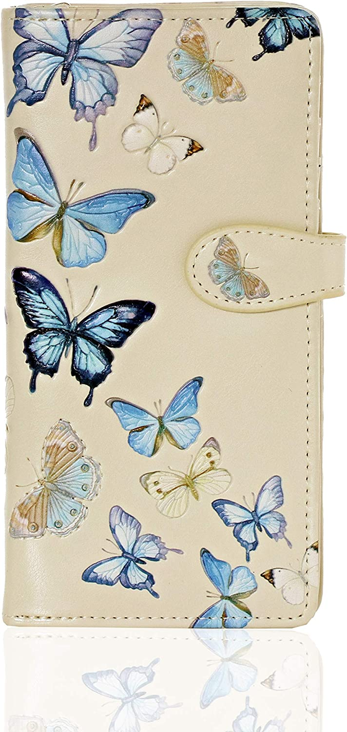 Recommended Shag Wear Large Butterflies Women's Beige BiFold Wallet Le Year-end annual account Vegan