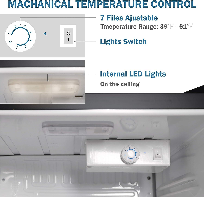 1.6 Cu.Ft ADT Beverage Cooler and Fridge With Glass Reversible Door Beverage Refrigerator