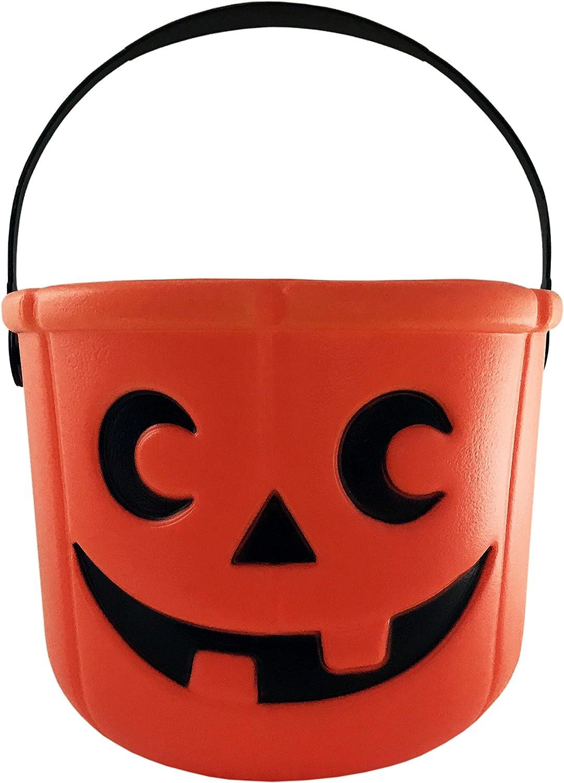 KINREX Halloween Pumpkin Candy Bucket - Trick or Treat Plastic Basket for Kids - Great Party Decor Favors - Orange - Measures 5.5 inches