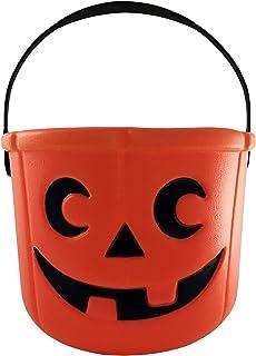 KINREX Halloween Pumpkin Candy Bucket - Trick or Treat Plastic Basket for Kids - Great Party Decor Favors - Orange - Measu...