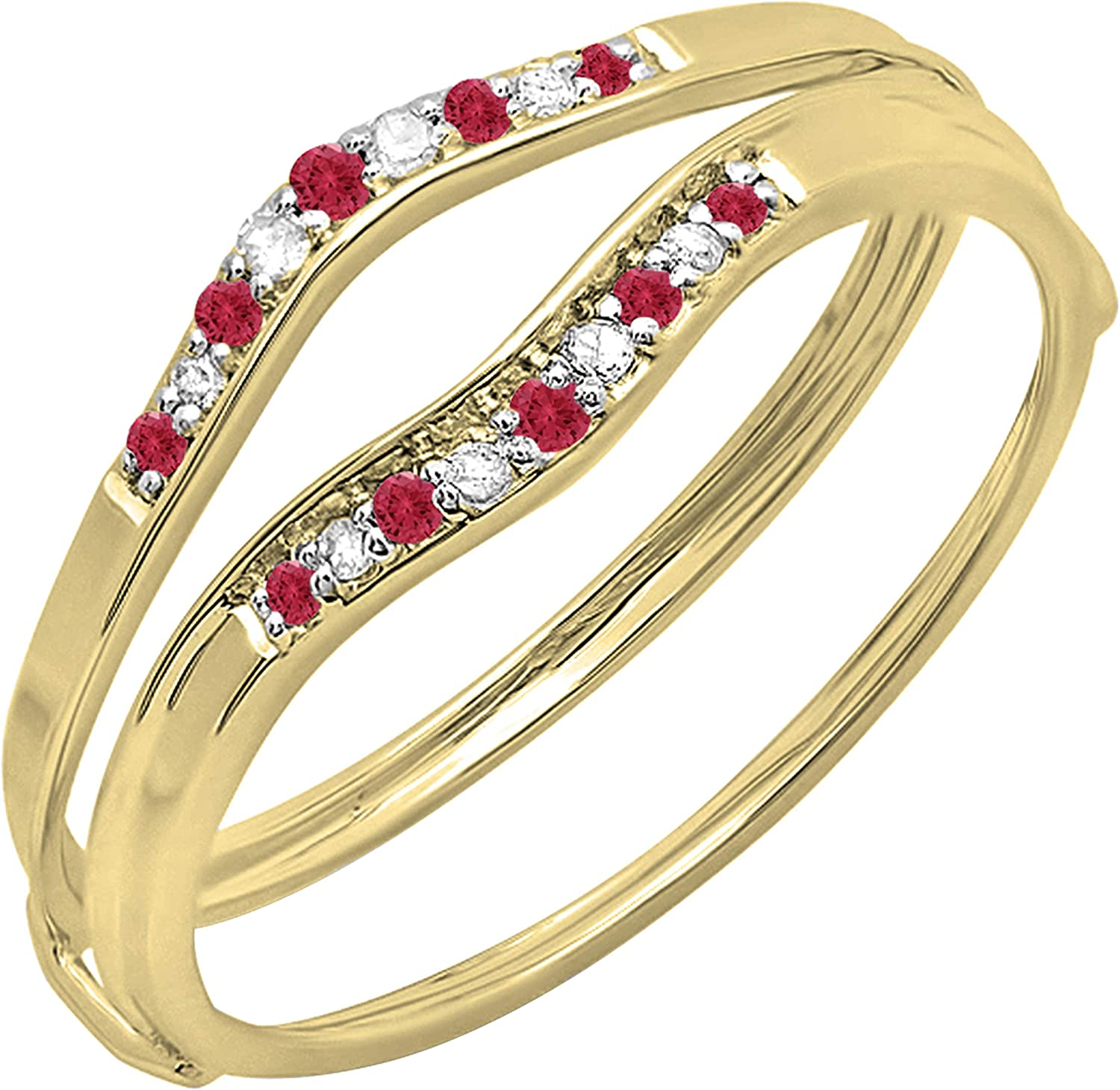 Dazzlingrock Collection Round Ruby & White Diamond Ladies Anniversary Enhancer Guard Wedding Band, Available In 10K/14K/18K Gold