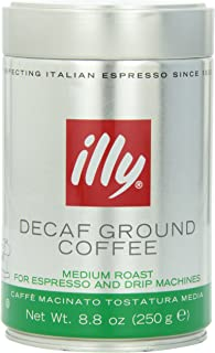 illy Caffe Decaffeinated Ground Coffee (Medium Roast, Green Band) Coffee, 8.8 Ounce Tin