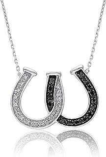 1/10 Carat Natural Diamond Pendant Necklace 925 Sterling Silver (HI Color, I3 Clarity) Horseshoe Diamond Pendant Necklace for Women Diamond Jewelry Gifts for Women