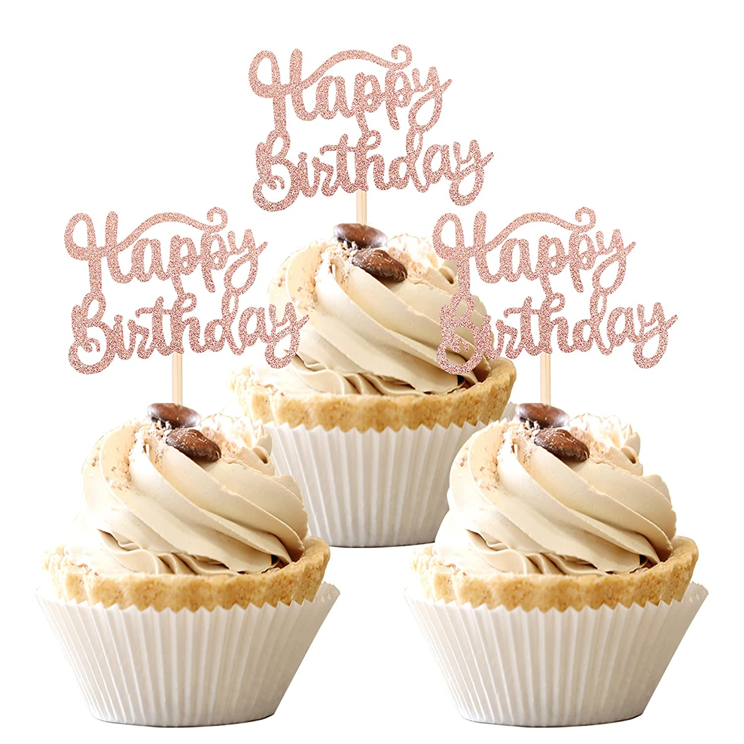 36 Super special price PCS Happy Birthday Toppers 5% OFF P Cupcake Glitter