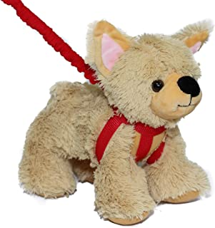 FunStuff Stuffed Animal Plush Toy Golden Light Brown/Blonde Dog on a Retractable and Removable Leash