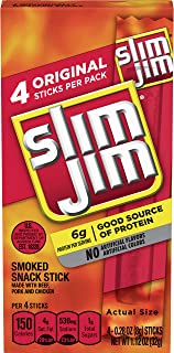Slim Jim Snack-Sized Smoked Meat Stick, Original Flavor, 1.12 Ounce, 4 Count (Pack of 3)