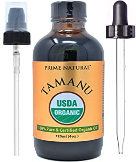 Prime Natural Organic Tamanu Oil- Cold Pressed, Unrefined, Virgin (4oz/120ml) for Hair, Nails, Skin Care, Scars and Hyper pigmentation with Anti-Aging and Skin Regeneration Properties
