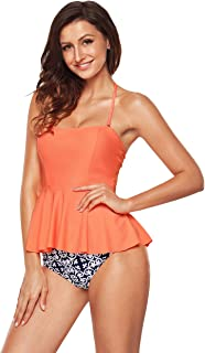 98956b1ae1 Aixy Women Vintage Two Piece Swimsuits High Waisted Bathing Suits with Underwired  Top