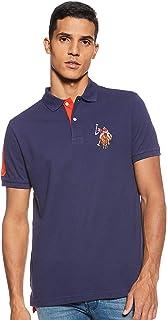 Mens Slim Fit Multi Colored Big Logo Solid Pique Polo Shirt