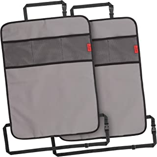 Heavy Duty Kick Mats Back Seat Protector (2 Pack) - The Sag Proof, Waterproof, Odor Proof Car Back Seat Cover for Kids Who Make Big Messes | 3 Reinforced Mesh Storage Pockets, Premium Oxford Fabric