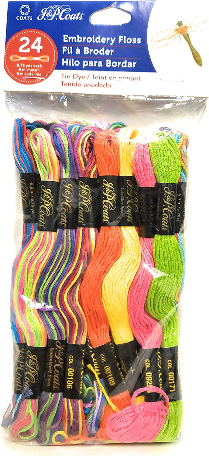 J Be super welcome P Coats 24 Skeins Floss Tie-Dye Embroidery of Outstanding Yarn