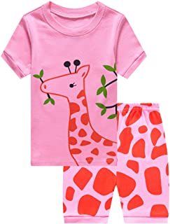 db213cc7e Family Feeling Graffe Little Girls' Short Pajamas 100% Cotton Clothes