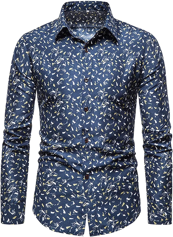 Shirt Mens Casual Long Sleeve Shirts Button Down, Flower Casual Shirts Hawaiian Vaction Cotton Button Lapel Shirt