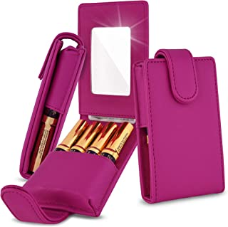 Celljoy Lipstick Travel Case for LipSense, Younique, Kylie, Liquid Lipstick and Lip Gloss - Fits 4 Tubes [Touch Up Mirror Business - Credit Card Slot] - Travel Purse Storage (Fuschia Hot Pink)