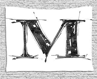 Tapices Tapiz Letter M Tapestry Alphabet Symbol in Sketchy Stencil Art Style Hand Drawn Effect Funky Calligraphy decoración para el hogar,para dormitorios,Salones o como Manta para Playa 80 W X 60 L