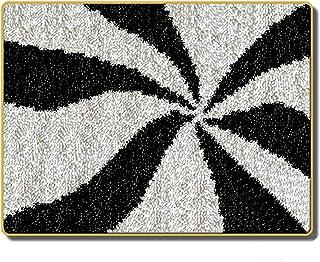 DIY Latch Hook Kit, Loquet Crochet Kits Tapis Broderie, Kit Point de Croix Tapis pour Débutant, 52 x 38 cm (Color : Black ...