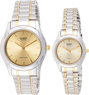 Casio Analog His & Hers Two Tone Stainless Steel Band Couples Watch [MTP/LTP-1275SG-9A]